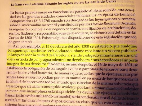 Curioso lo que hacían con los banqueros que quebraban en la Barcelona de 1300. http://t.co/0JPFqHaE91