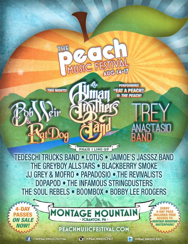 Aug 14-17 - Scranton, PA - @PeachMusicFest !!!  Check out phase 1 of the lineup!  #SeeUAtThePeach http://t.co/sKBUIKgFV5