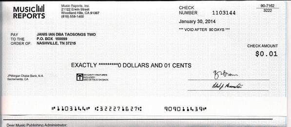 Janis Ian posted a pic of her latest royalty check.  Music biz in rude health… http://t.co/AyeyG5L829