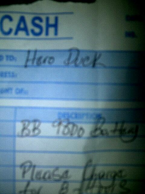 "Brought a battery, cashier asked my name, told her ""E. Ruddock"" Well a dis deh pon di receipt. I'm dedding! http://t.co/qj0EpNCni6"
