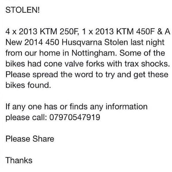 Please RT and help get the bikes back everyone!! http://t.co/ZKUuL4O9gU