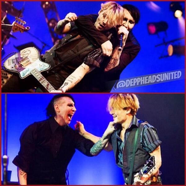 Sharon Depp (@SharonDepp): Johnny Depp with Marilyn Manson at NAMM concert