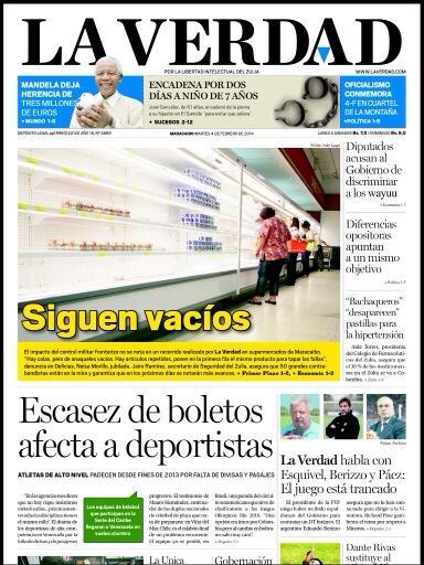 Con ustedes la primera página de hoy del diario  zuliano La Verdad http://t.co/f01yVH7d4z