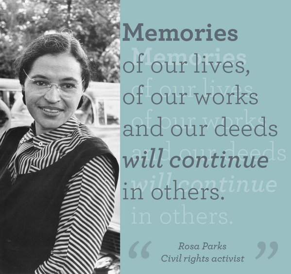 Today we honor the history of #RosaParks & celebrate her #determination to promote equal opportunity for all: http://t.co/B2IpV1pC8a
