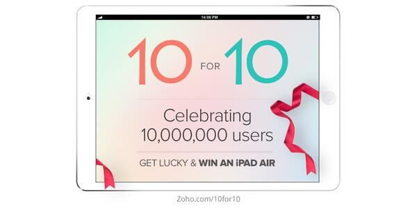 We're celebrating our 10 millionth user, and this is how we want to thank you: RT and win an iPad Air! #Zoho10 http://t.co/lfasz3LAQ4