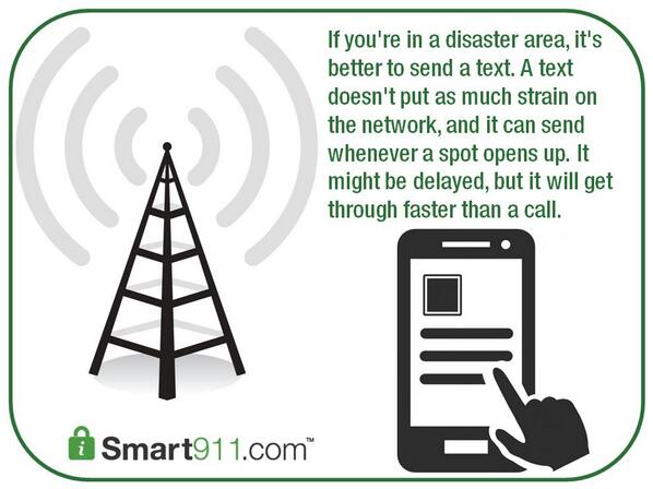 """Great info RT """"@Smart911: SAFETY TIP: If you are in a disaster area, it's better to send a text. #preparedness http://t.co/xn2pN9eRXC"""""""