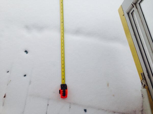 I just measured the snow on my front porch. It's approximately 4 1/2 feet wide by 5 1/2 feet long http://t.co/GsR9rPHtLg