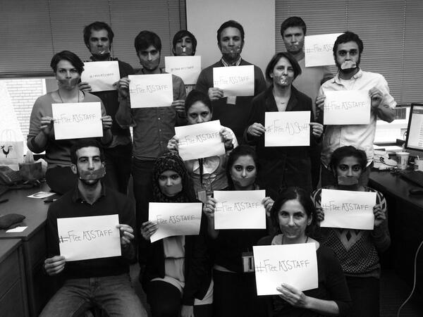 Again, journalism is not terrorism. #FreeAJStaff D.C. @AJFaultLines team stands with our colleagues http://t.co/0JpWmiwLNn