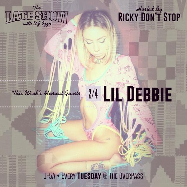 LA! Tonight @ overpass 1-5am.. Special Dj set from @djseang and performance by @L1LDebbie http://t.co/4tSNynfyZb