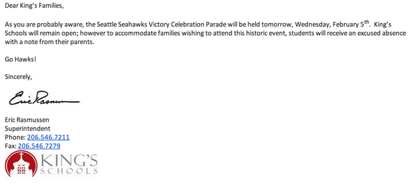 Best note ever received from a school. Kids can take tomorrow off for @Seahawks parade. http://t.co/koQBr6Auku