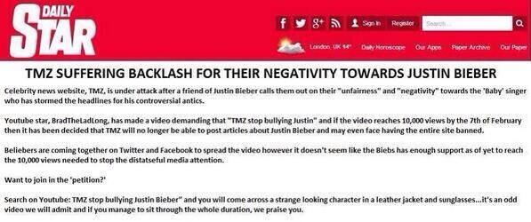 Directioners lets help the beliebers out with this. Would hate if TMZ wrote this kinda shit about our boys. http://t.co/Gxq0yJzteP