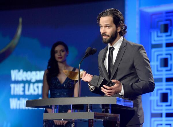 #WGA2014 Videogame Writing winner @Neil_Druckmann @tlougame 2014 #WritersGuildAwards @WGAWest show #TheLastofUs http://t.co/H7PT37JgQI