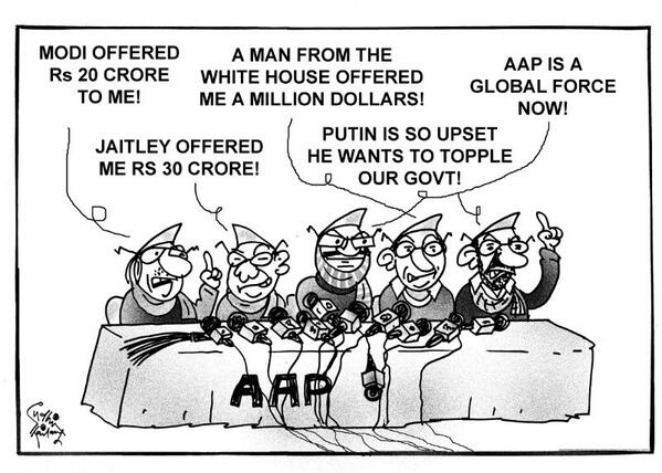 #AAP is a global force! Cartoon by #SudhirTailang . http://t.co/L40yayW28D