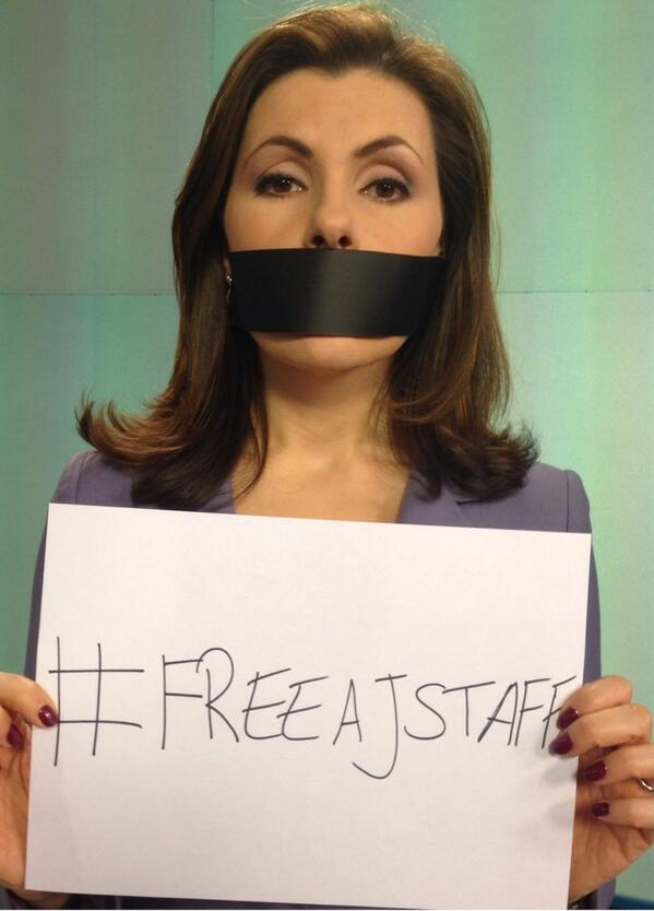 White House @PressSec & journos from around the world join calls to #freeAJstaff held in Cairo jail since December 29 http://t.co/oA8SOL06zX