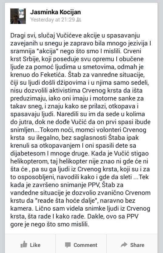 #Srbija: Vojska sprečila obučenu ekipu Crvenog krsta da izbavi zavejane, da bi se PPV slikao, kaže novinarka Tanjuga http://t.co/7MZ3rWxW93