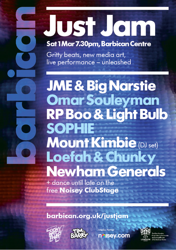 Mount Kimbie added to @dontwatchthattv / Just Jam at the Barbican. BIG! http://t.co/CdANqFZ9RN