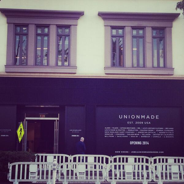 Unionmade at The Grove. Opening Soon! http://t.co/E0Uv6RsfvY