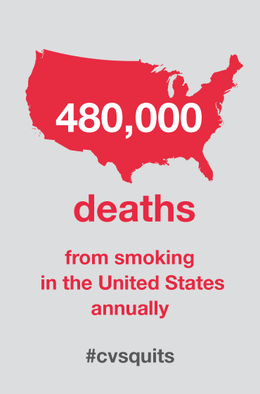 Smoking kills more than 480,000 in the US each year. We're taking a stand & not selling tobacco in stores #cvsquits http://t.co/0clBu3w2WN