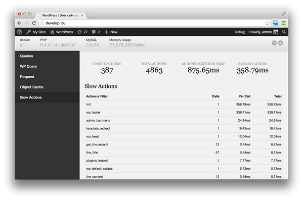 Hacking on a new Debug Bar extension for WordPress. I think you will love this one. http://t.co/Y7VW81VrmN