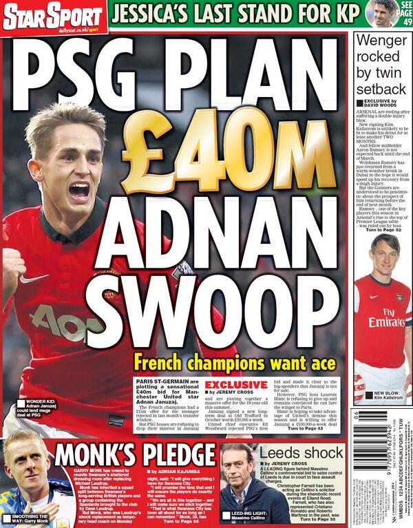 Bfvnx3bCcAAML1  PSG are planning £40 million swoop for Manchester Uniteds Adnan Januzaj [Star Sport]