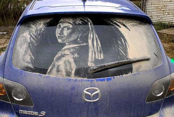 If you got it you got... Don't matter where or how!  Dirty car art by Scott Wade #art #contemporaryart http://t.co/uokPnBLgQq