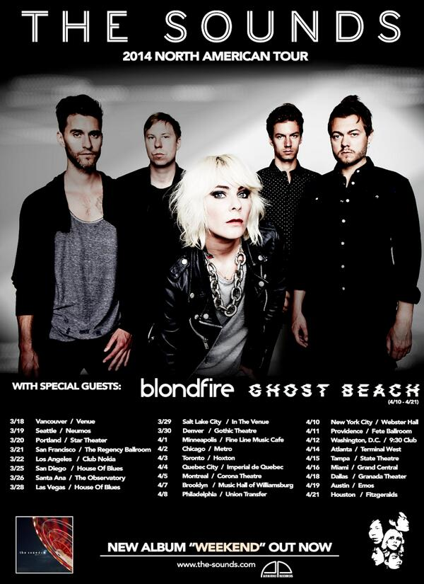The Sounds 2014 North American Tour Dates!!  http://t.co/W1CQDwD2xr @blondfire @ghostbeach #thesoundstour http://t.co/S0QtyEYtYy