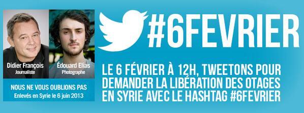 #6février 8 mois en Syrie. Didier, Edouard, Pierre, Nicolas. On ne vous oublie pas. #FaitesDuBruit #otages #reporters http://t.co/QFCDSUC49T