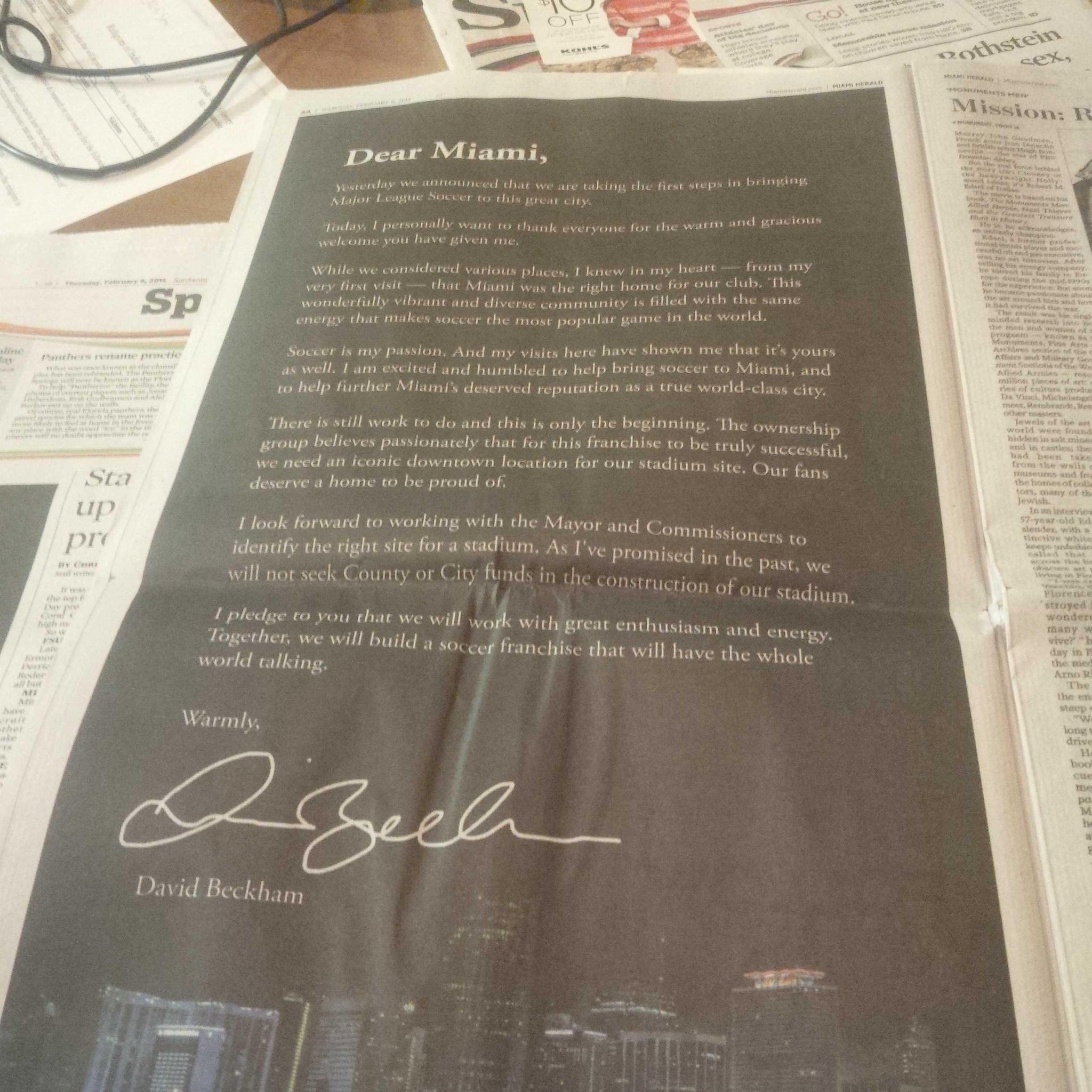 David Beckham gets another PR win writing a full page letter in a Miami paper [Picture]