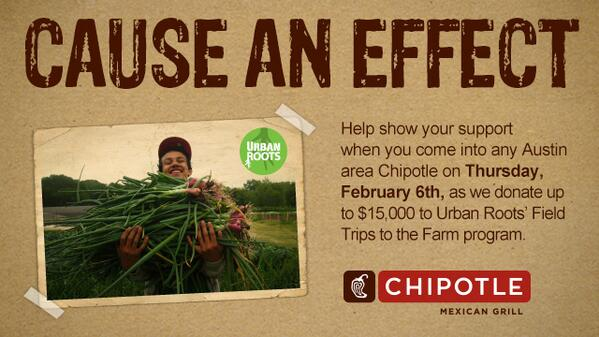 Need lunch? All Austin-area Chipotle Restaurants are donating profits (up to 15K) to @UrbanRootsATX Roots today! http://t.co/kg5ANnzJzF