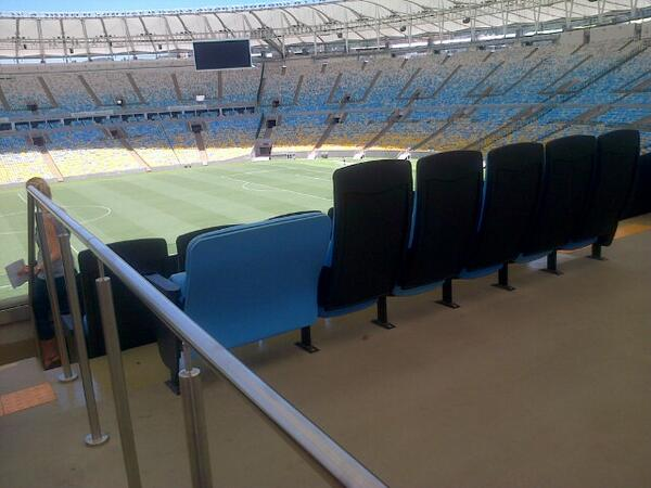 This is the seat for obese fans at the World Cup stadium in Rio: 50% discount on tickets if you have doctor's note http://t.co/V9KkSx555s