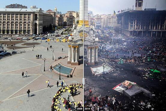 Before-and-after image of Kiev's Independence Square: http://t.co/9fJq7NK2KV (AFP/Getty/Bloomberg) http://t.co/qEzkLQZA6f
