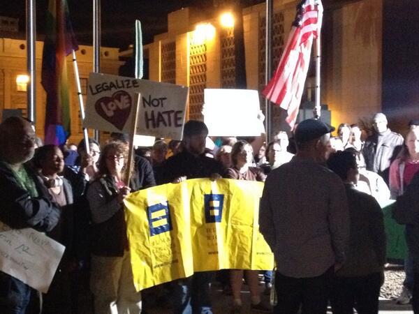 "Protestors at the AZ capital urge Gov. Brewer to veto SB 1062 - saying ""don't legalize discrimination."" http://t.co/55Kks9KmbN"
