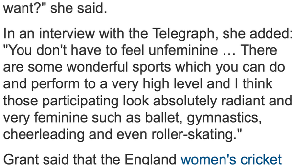 I just cannot believe the sport and equalities minister Helen Grant said this, it beggars belief http://t.co/OYnvzDMkhK