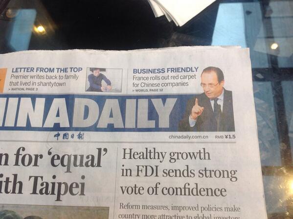 """""""La France déroule le tapis rouge pour les entreprises chinoises"""" titre le China Daily ce matin http://t.co/KqUEeHz7QV"""