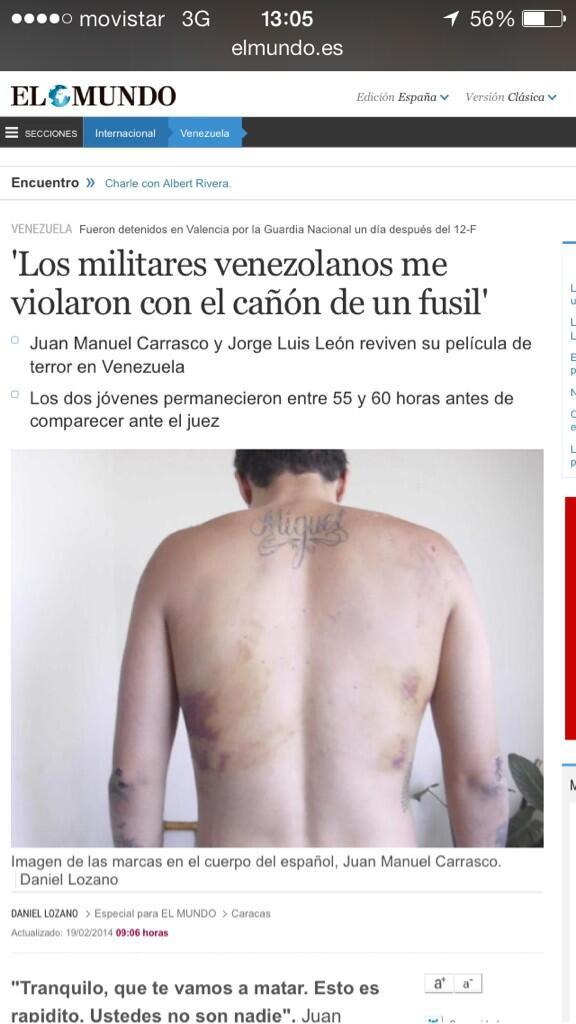 Estudiantes violados por los militares venezolanos con el cañón de un fusil esto es INHUMANO  http://t.co/KzVkMEKSWf http://t.co/z1ClCxN29j