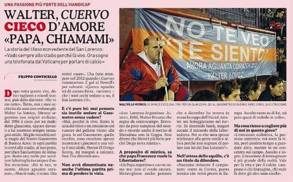 La historia de Walter y su amor incondicional. De Augol a La Gazzetta dello Sport. http://t.co/vstxOyfnAS http://t.co/jRpmYW5WAS