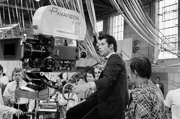 John Travolta as Danny Zuko on the set of Grease. http://t.co/cfuXeP9FCy