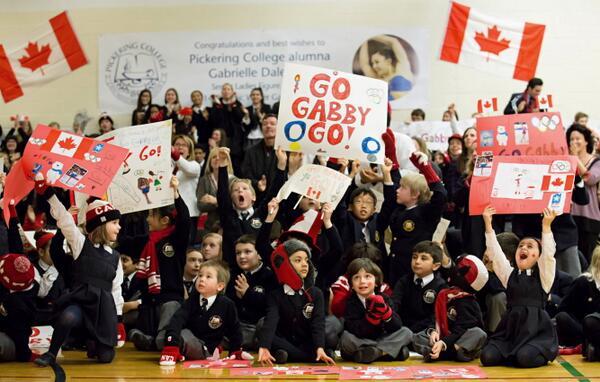 Newmarket's #PickeringCollege cheers #GoGabbyGo for alumna @Gabby_Daleman #Sochi2014 http://t.co/BEgxgaSekJ http://t.co/SxT0xOW9Vc
