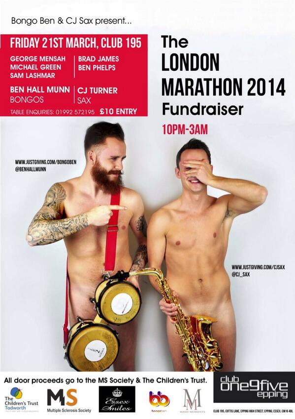 Friday 21st March @Club195 - The London Marathon 2014 Fundraiser. Man of my word… #NakedFlyer  http://t.co/xRWXMPhZQo http://t.co/Uu0IUjLpot