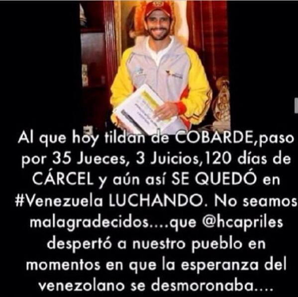 Norkys Batista (@Norkys_batista): No le des la espalda, q A TI NUNCA TE LA DIO...! Contigo ahora y siempre mi @hcapriles ❤️✋