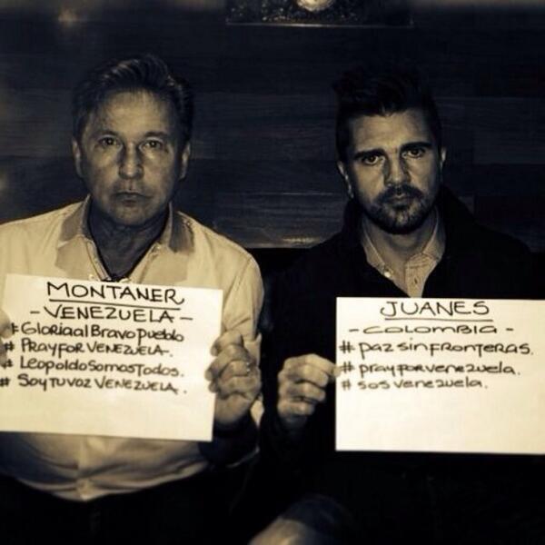 Los cantantes Juanes y Ricardo Montaner enviaron mensaje de solidaridad a Venezuela http://t.co/JDlb2VufAk http://t.co/Ic1WlvicNo