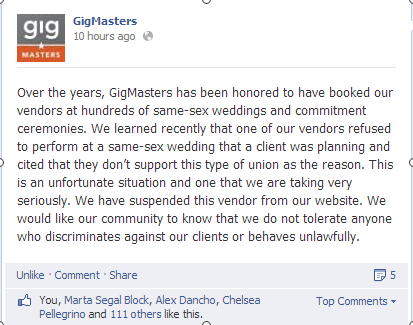 Feels good to end day knowing we made the right decision re same-sex marriage RT to support. @glaad #LGBT http://t.co/dTzLpIkDHB