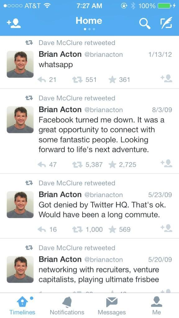 Fb bought whatsapp for $19bn today. In 2009, Founder was rejected for a job at fb & twitter. He's laughing now! > http://t.co/ri2Lae0pif