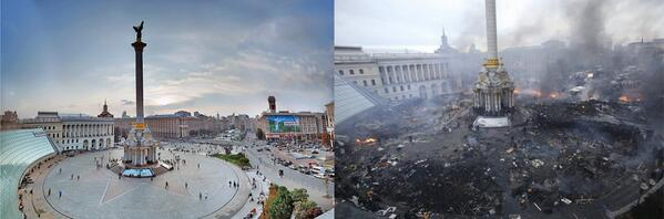 Kiev's Independence square before and today, the bloodiest day in Ukraine's history... #euromaidan http://t.co/S6ZW88FaLO