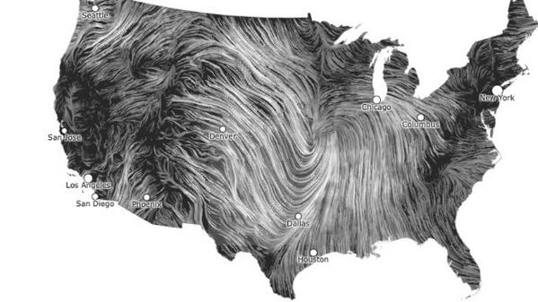 Heather Biance (@heatherbiance): Cool!  RT @ChaseThomason: Always fun to look at the #windmap on these windy days: http://t.co/uGic9OApi6 http://t.co/usGKG0RY7k