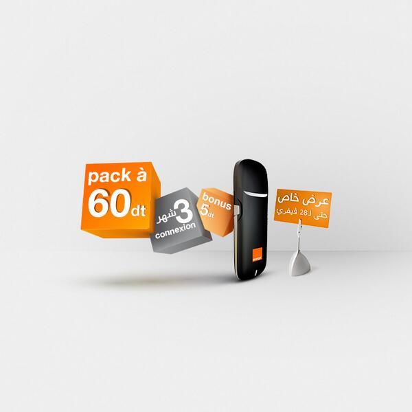 Orange Tunisie (@OrangeTN): Jusqu'au 28/02, profitez de la clé 3G et de 3 mois de connexion avec le pack IEW Bonus à 60dt http://t.co/xvhxnYCvZA http://t.co/E3wV21K99Z