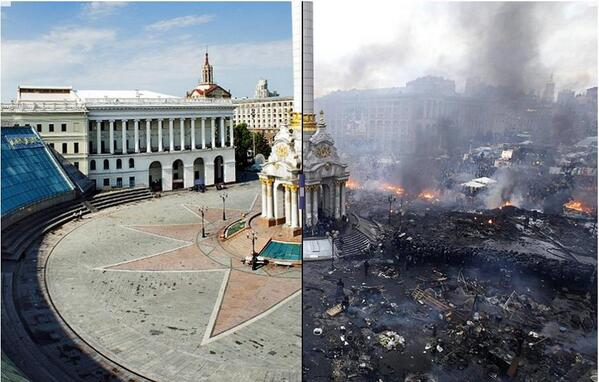 So sad, so unnecessary RT @dotmariusz: This is incredible — Kiev, before and after. http://t.co/MywXcwUYzv