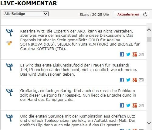 독일 공중파 ARD 해설위원이자 전 동계 올림픽 피겨 2연패의 주인공 카트리나 비트도 이번 판정에 대해 이해할 수 없다고 말함. 김연아의 144.19점은 자기 의견과는 명백하게 다른 점수라고 한... http://t.co/u3XQNNUB3D