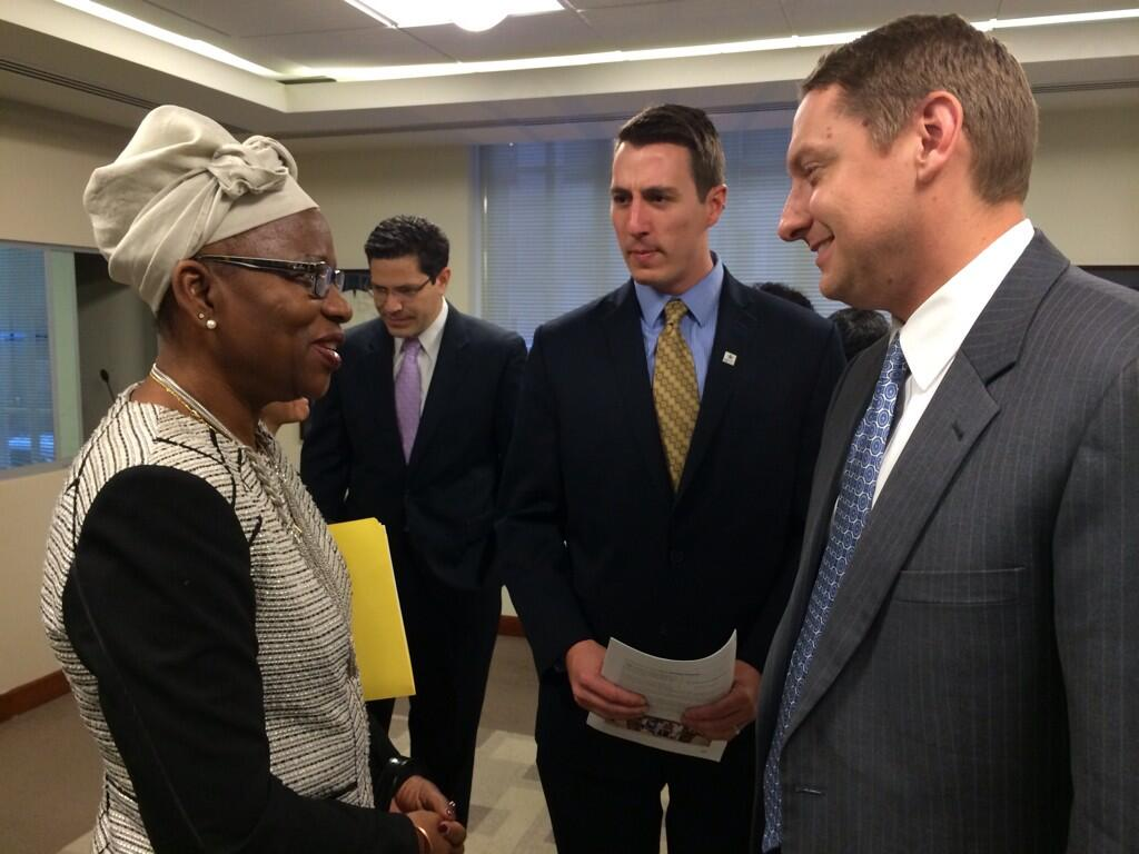 #Mozambique Ambassador in Washington, Amelia Matos Sumbana w/ MCC's Nate Hulley @MCCLesothoRCD #MCCat10 #Africa http://t.co/G7AnbHn9l1