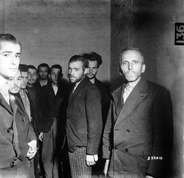 German Gestapo agents arrested after the liberation of Liège, Belgium, herded together in a cell. October 1944 http://t.co/KCuKx1WHQq